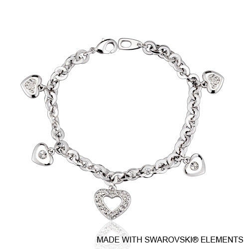 Adora Chain Bracelet (Clear Crystal, Pure Rhodium Plated) - Lush Addiction, Crystals from Swarovski®