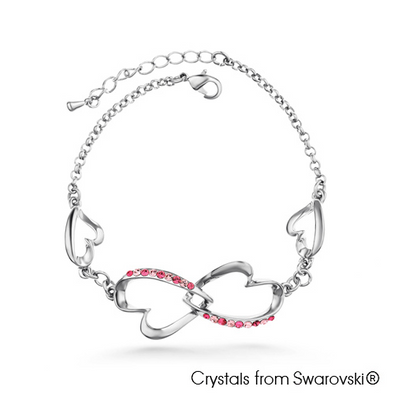 Symona Bracelet (Rose, Pure Rhodium Plated) - Lush Addiction, Crystals from Swarovski