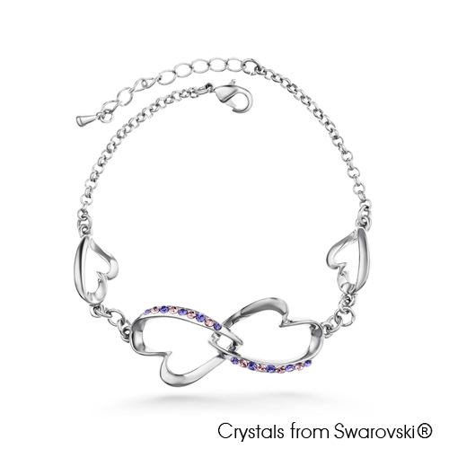 Symona Bracelet (Tanzanite, Pure Rhodium Plated) - Lush Addiction, Crystals from Swarovski