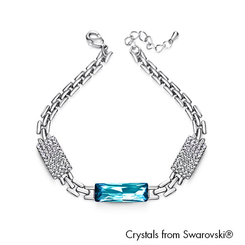 Saphir Bracelet Aquamarine Pure Rhodium Plated Lush Addiction Crystals from Swarovski