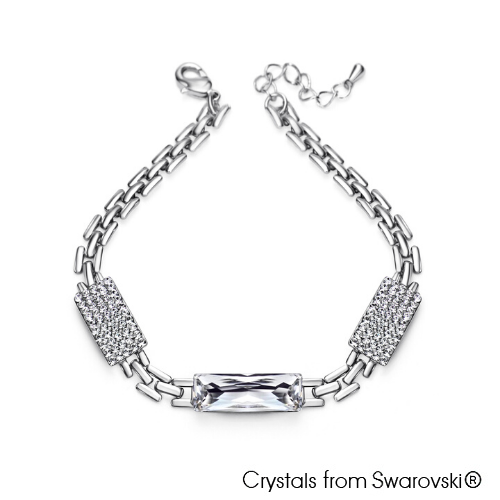 Saphir Bracelet Clear Crystal Pure Rhodium Plated Lush Addiction Crystals from Swarovski