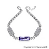 Saphir Bracelet Tanzanite Pure Rhodium Plated Lush Addiction Crystals from Swarovski