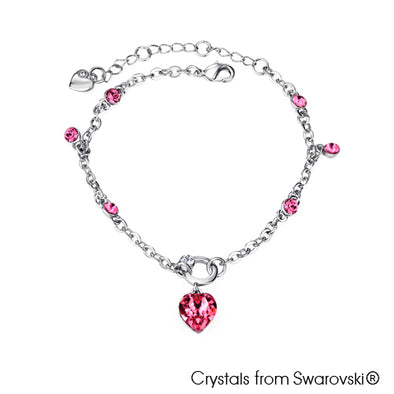 Devoted Heart Chain Bracelet (Rose, Pure Rhodium Plated) - Lush Addiction, Crystals from Swarovski®