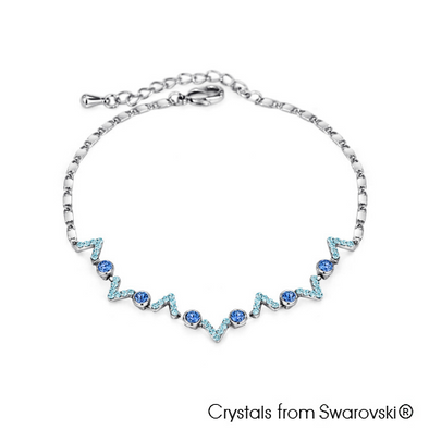 Darya Necklace (Sapphire, Pure Rhodium Plated) - Lush Addiction, Crystals from Swarovski®
