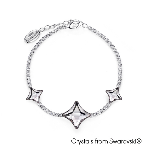 Starlet Bracelet Smoky Mauve Pure Rhodium Plated Lush Addiction Crystals from Swarovski