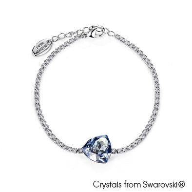 Avery Chain Bracelet (Crystal Blue Shade, Pure Rhodium Plated) - Lush Addiction