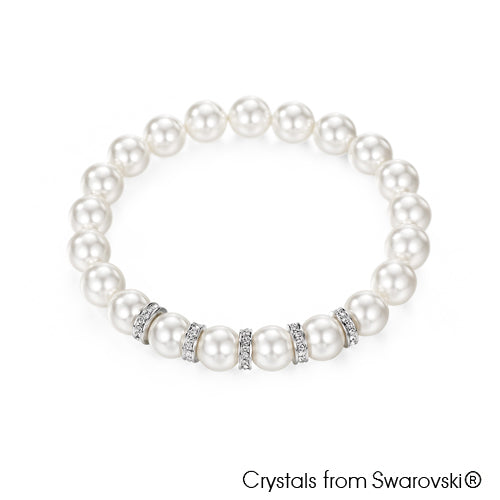 Classic Swarovski Pearl Bracelet (Pure Rhodium Plated) - Lush Addiction, Crystals from Swarovski®