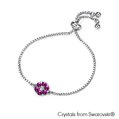 Flower Birthstone Bracelet (Amethyst, Pure Rhodium Plated) - Lush Addiction, Crystals from Swarovski®