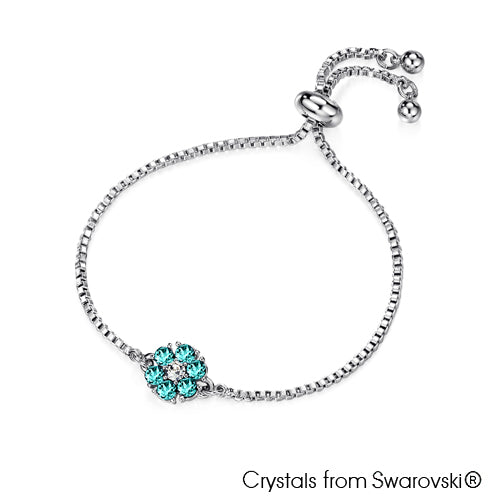 Flower Birthstone Bracelet (Aquamarine, Pure Rhodium Plated) - Lush Addiction, Crystals from Swarovski®