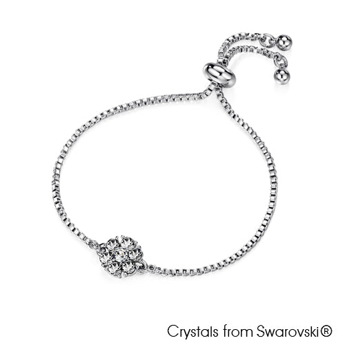 Flower Birthstone Bracelet (Clear Crystal, Pure Rhodium Plated) - Lush Addiction, Crystals from Swarovski®