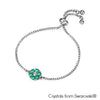 Flower Birthstone Bracelet (Emerald, Pure Rhodium Plated) - Lush Addiction, Crystals from Swarovski®