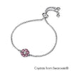 Flower Birthstone Bracelet (Light Amethyst, Pure Rhodium Plated) - Lush Addiction, Crystals from Swarovski®