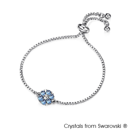 Flower Birthstone Bracelet (Light Sapphire, Pure Rhodium Plated) - Lush Addiction, Crystals from Swarovski®