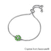 Flower Birthstone Bracelet (Peridot, Pure Rhodium Plated) - Lush Addiction, Crystals from Swarovski®