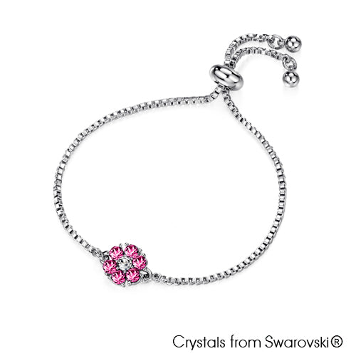 Flower Birthstone Bracelet (Rose, Pure Rhodium Plated) - Lush Addiction, Crystals from Swarovski®