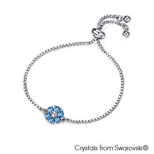 Flower Birthstone Bracelet (Sapphire, Pure Rhodium Plated) - Lush Addiction, Crystals from Swarovski®