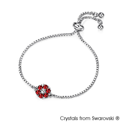 Flower Birthstone Bracelet (Garnet, Pure Rhodium Plated) - Lush Addiction, Crystals from Swarovski®
