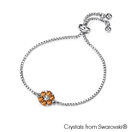 Flower Birthstone Bracelet (Topaz, Pure Rhodium Plated) - Lush Addiction, Crystals from Swarovski®