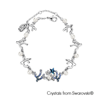 Coralyne Bracelet (Pure Rhodium Plated) - Lush Addiction, Crystals from Swarovski®