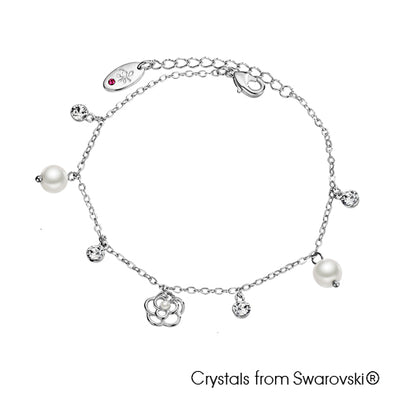Floral Bracelet (Clear Crystal, Pure Rhodium Plated) - Lush Addiction, Crystals from Swarovski®