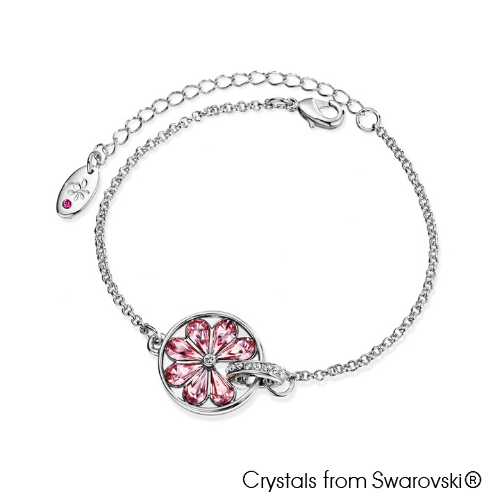 Cocktail Bracelet Light Rose Pure Rhodium Plated Lush Addiction Crystals from Swarovski