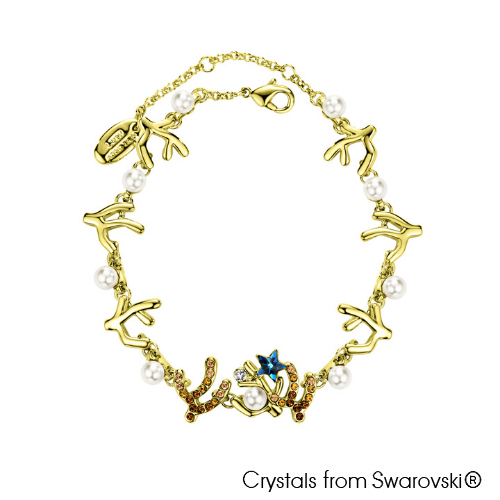 Coralyne Chain Bracelet (18K Gold Plated) - Lush Addiction, Crystals from Swarovski®