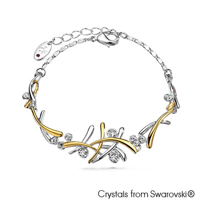 Aura Bracelet (Clear Crystal, Pure Rhodium and 18K Gold Plated) - Lush Addiction, Crystals from Swarovski®
