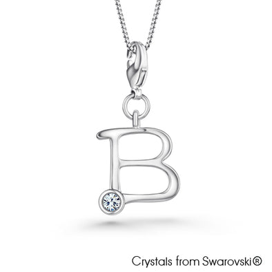 Alphabet B Charm Necklace (Clear Crystal, Pure Rhodium Plated) - Lush Addiction, Crystals from Swarovski®