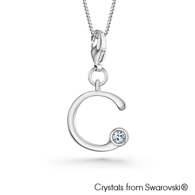 Alphabet C Charm Necklace (Clear Crystal, Pure Rhodium Plated) - Lush Addiction, Crystals from Swarovski®
