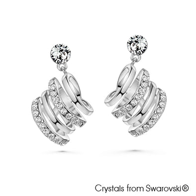 Tassel Earring (Clear Crystal, Pure Rhodium Plated) - Lush Addiction, Crystals from Swarovski®