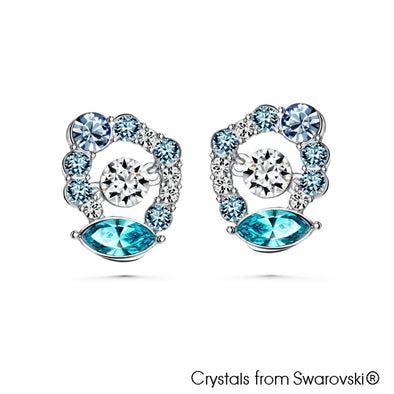 Enchanting Earrings with Dancing Crystal (Multi-Colour, Pure Rhodium Plated) - Lush Addiction, Crystals from Swarovski®