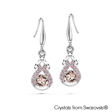 Lucky Gourd Earrings (Vintage Rose, Pure Rhodium Plated) - Lush Addiction, Crystals from Swarovski®