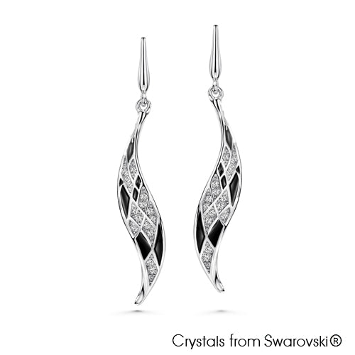 Modernistic Earrings (Jet, Pure Rhodium Plated) - Lush Addiction, Crystals from Swarovski®