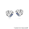 Devoted Heart Earrings (Sapphire, Pure Rhodium Plated) - Lush Addiction