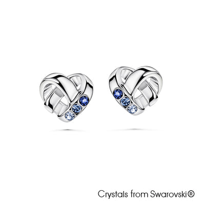 Devoted Heart Earrings (Sapphire, Pure Rhodium Plated) - Lush Addiction, Crystals from Swarovski®