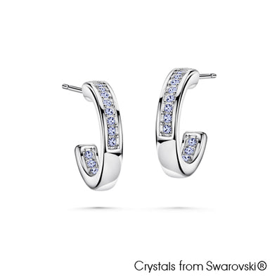 Loop Earrings (Aquamarine, Pure Rhodium Plated) - Lush Addiction, Crystals from Swarovski®