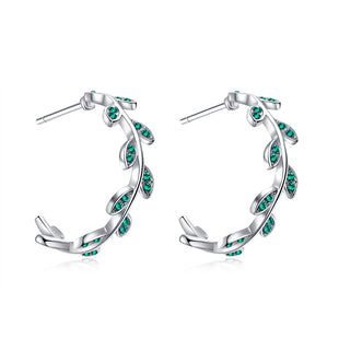 Emma Earrings (Emerald Green, Pure Rhodium Plated) - Lush Addiction, Crystals from Swarovski