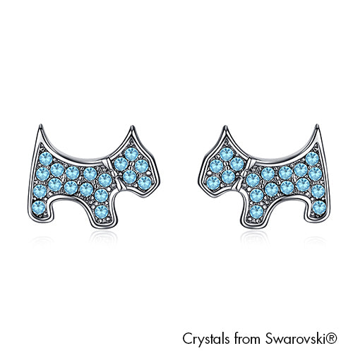 Cute Terrier Earrings (Aquamarine, Pure Rhodium Plated) - Lush Addiction, Crystals from Swarovski®