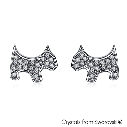 Cute Terrier Earrings (Clear Crystal, Pure Rhodium Plated) - Lush Addiction, Crystals from Swarovski®