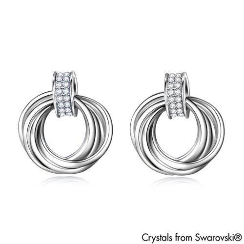 Interlink Halo Earrings (Clear Crystal, Pure Rhodium Plated) - Lush Addiction, Crystals from Swarovski®