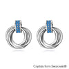 Interlink Halo Earrings (Sapphire, Pure Rhodium Plated) - Lush Addiction, Crystals from Swarovski®
