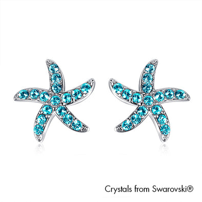 Starfish Earrings Light Rose Pure Rhodium Plated Lush Addiction Crystals from Swarovski