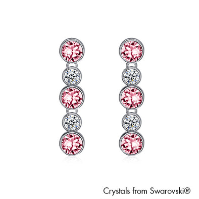 Annabelle Earrings (Light Rose, Pure Rhodium Plated) - Lush Addiction, Crystals from Swarovski