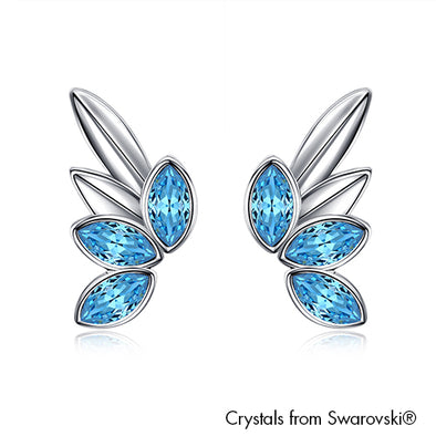 Guardian Angel Earrings (Aquamarine, Pure Rhodium Plated) - Lush Addiction, Crystals from Swarovski