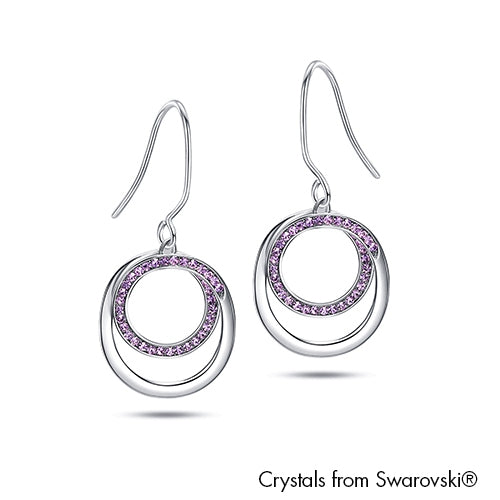 Corianne Earrings Violet Pure Rhodium Plated Lush Addiction Crystals from Swarovski