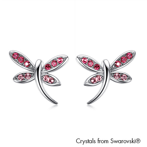 Dragonfly Earrings (Rose, Pure Rhodium Plated) - Lush Addiction, Crystals from Swarovski