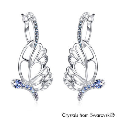 Papillion Earrings (Light Sapphire, Pure Rhodium Plated) - Lush Addiction, Crystals from Swarovski