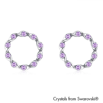 Eternity Earrings (Violet, Pure Rhodium Plated) - Lush Addiction, Crystals from Swarovski®