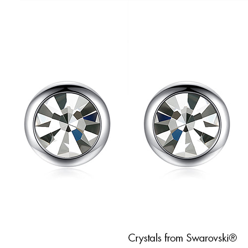 Solitaire Earrings (Clear Crystal, Pure Rhodium Plated) - Lush Addiction, Crystals from Swarovski®