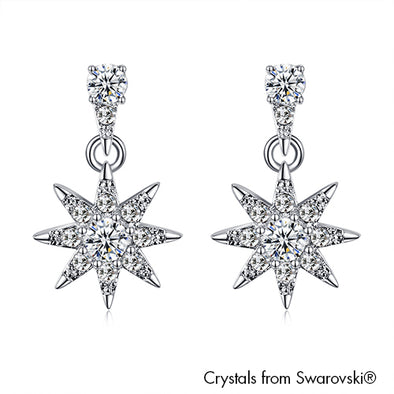 Starry Earrings (Clear Crystal, Pure Rhodium Plated) - Lush Addiction, Crystals from Swarovski